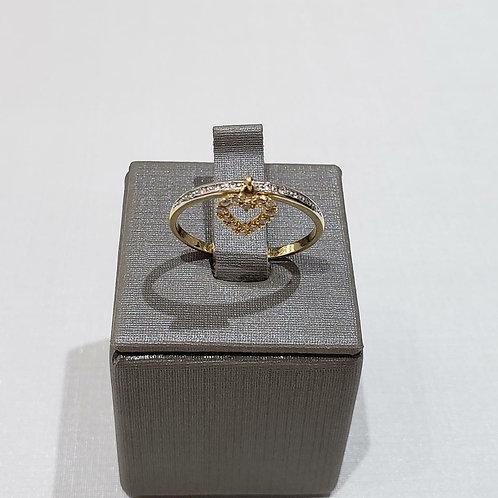 Anel Coração com Diamantes