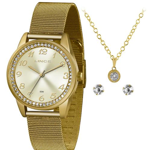 Relógio Lince Dourado Com Pedras
