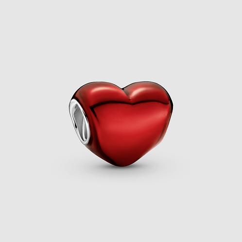 Charm Coração Vermelho Metálico