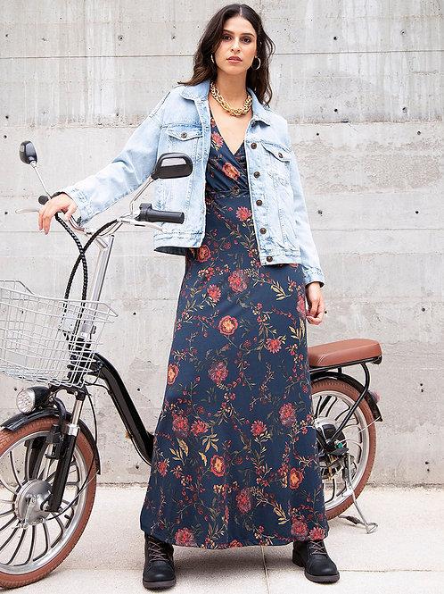 Vestido Longo Transpasse Floral