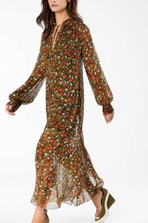 Vestido de Georgette Midi de Manga Longa Estampado