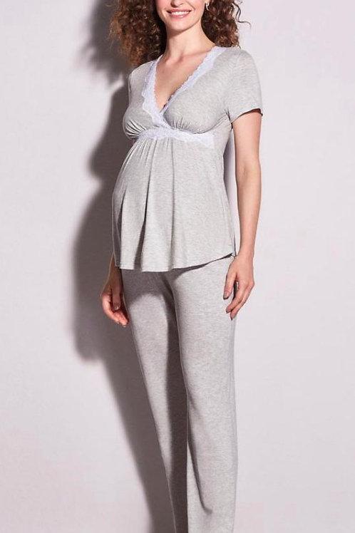 Pijama Longo em Viscose e Renda Maternity