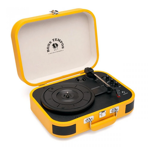 Vitrola de Mala Bluetooth Amarela