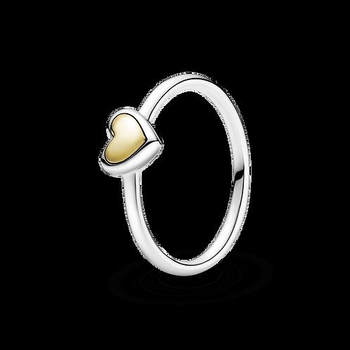Anel Coração Com Ouro 14k