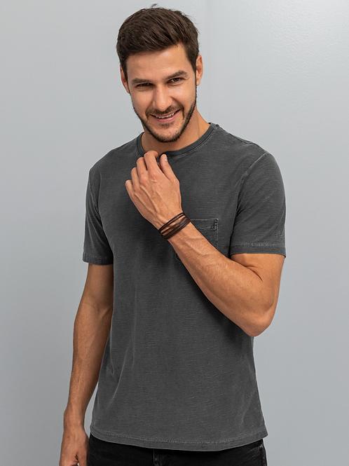 Camiseta Gola Portuguesa Com Bolso Masculina Cinza Chumbo