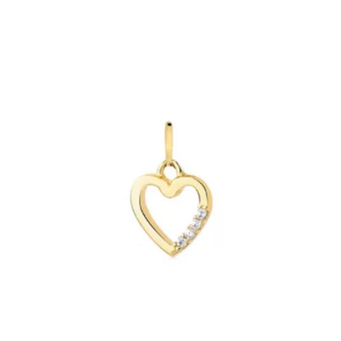 Pingente de Ouro 10k Coração Vazado Com Zircônia