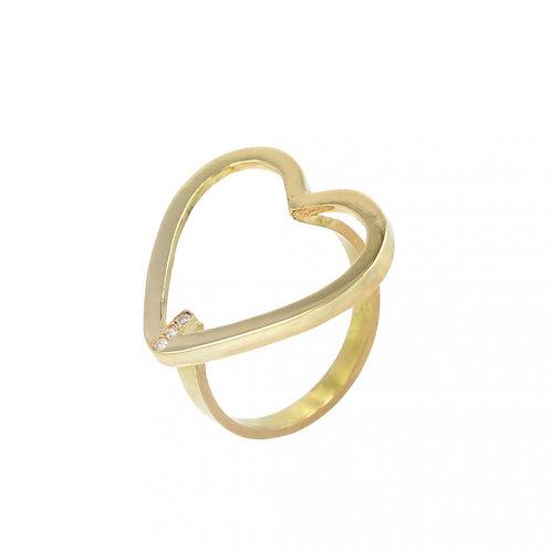 Anel Ouro Amarelo Polido Coração Maior 3 Brilhantes a partir de