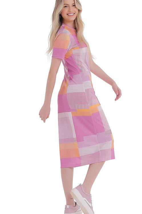 Vestido Zinco Midi Gola Alta Básico Roxo