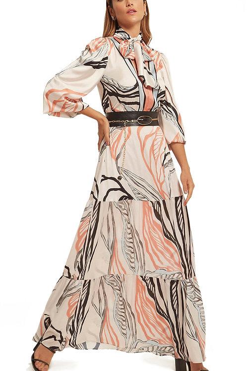 Vestido Morena Rosa Longo Decote Transpassado Com Faixa Off White
