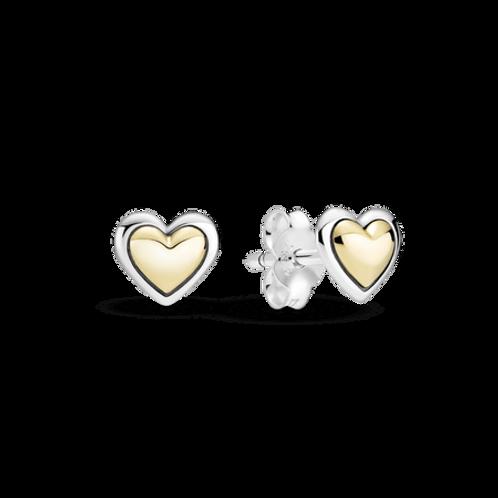 Brinco Coração Com Ouro 14k