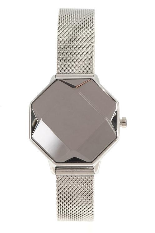 Relógio Digital LED Feminino Chilli Beans Facetado Crystal Edition Prata