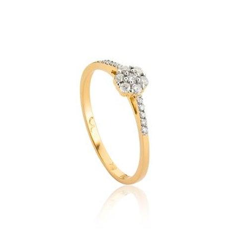 Anel de Ouro 18k Flor e Aro Com Diamantes Rodinados Diamond Flowers
