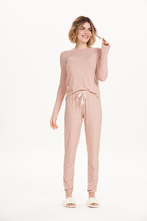 Pijama Manga Longa em Ribana e Viscolycra