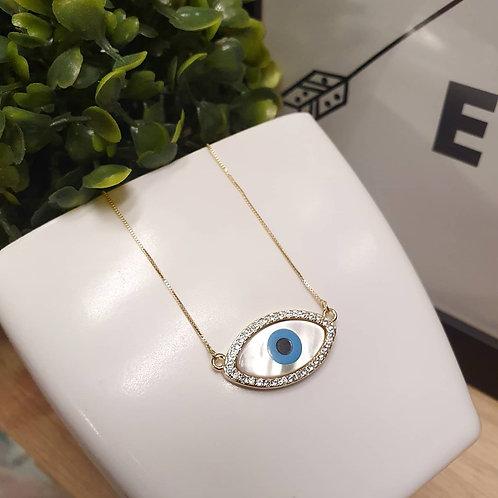 Colar Olho Grego Folhada a Ouro 18k Com Pedraria de Zircônia Cravejada