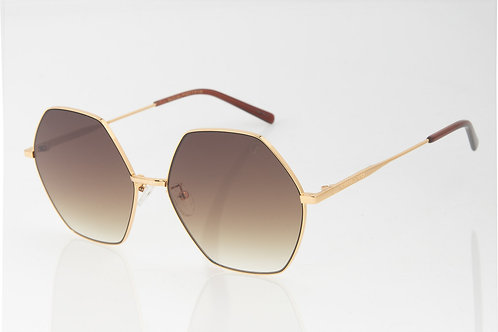 Óculos de Sol Feminino Chilli Beans Banhado a Ouro Hexagonal Degradê Marrom