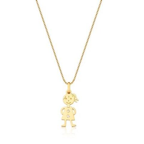Pingente de Ouro 18k Menina Com Diamante
