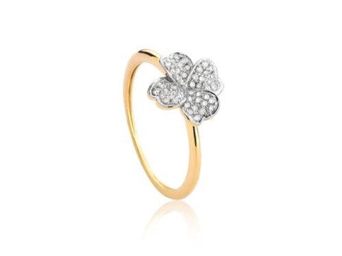 Anel de Ouro 18k Trevo Com Diamantes Rodinados Coleção Tréfle