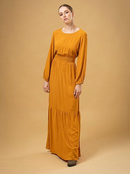 Vestido Longo de Crepe com Lastex