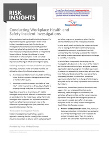 Conducting Workplace Health & Safety Incident Investigations