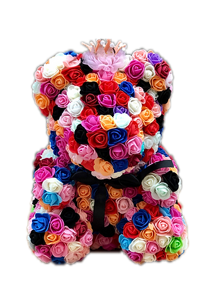 Rainbow Flower Foam Bear with Crown