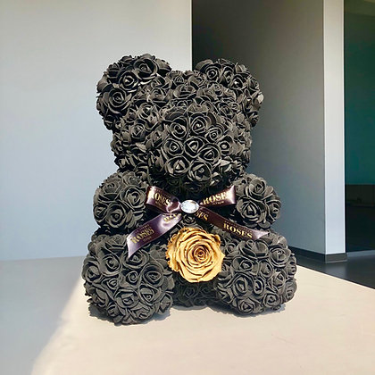 Black Bear with Gold Preserved rose