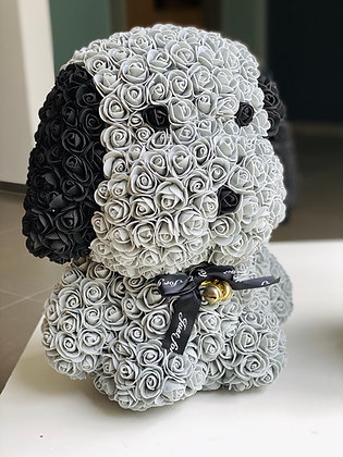 Floral Cute Dog 40cm - Grey/Black