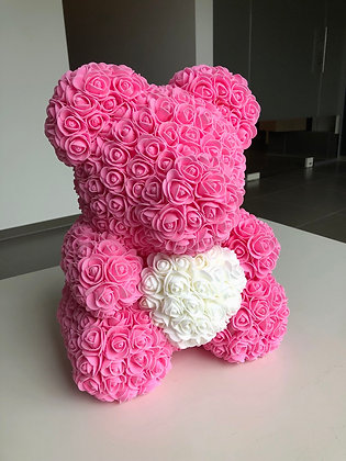 Flower Foam Bear - 40cm Pink with WhiteHeart