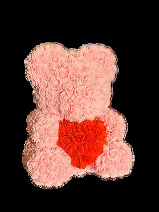 Flower Foam Bear - Light Pink with Red Heart