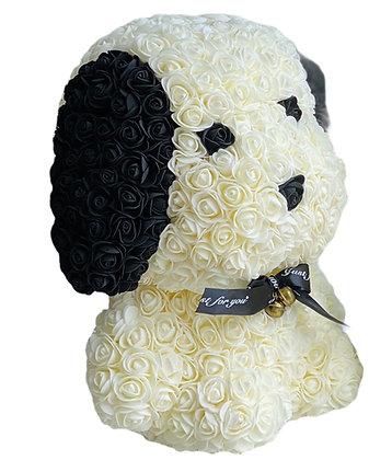 Floral Cute Dog 40cm - White/Black