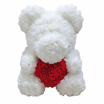 Floral foam bear- White with Red heart