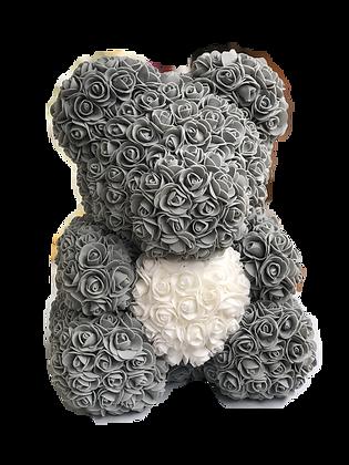 Flower Foam Bear - Grey with White Heart