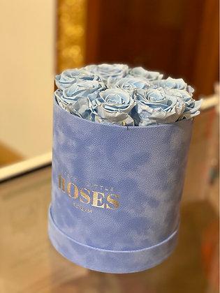 Medium High Round Velvet Blue Box - Choose Color roses