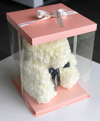 40cm Off-White bear in Pink Giftbox