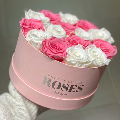 Pink Flowerbox with Pink/White roses