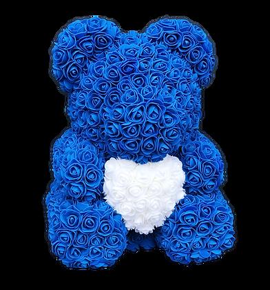 Flower Foam Bear - Dark blue with White Heart