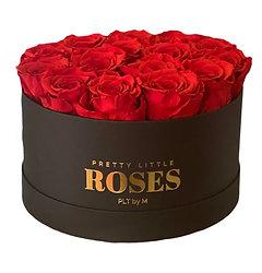 Boîte à fleurs ronde noire - Roses conservées rouges