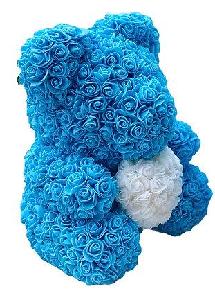 Flower Foam Bear- Blue with White heart