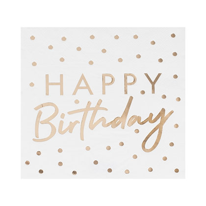 GOLD FOILED HAPPY BIRTHDAY PAPER NAPKINS