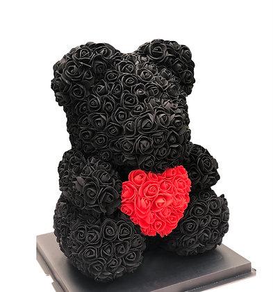 Flower Foam Bear- black with red heart