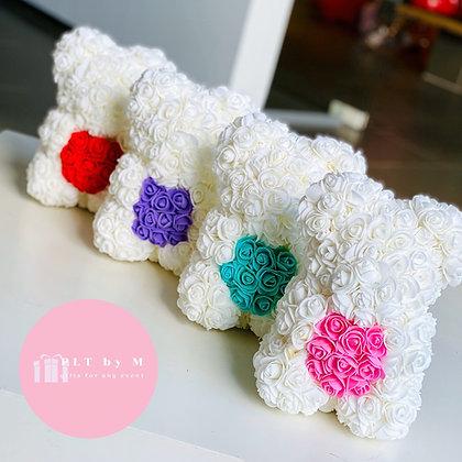 Small Flower Foam Bear - White with heart