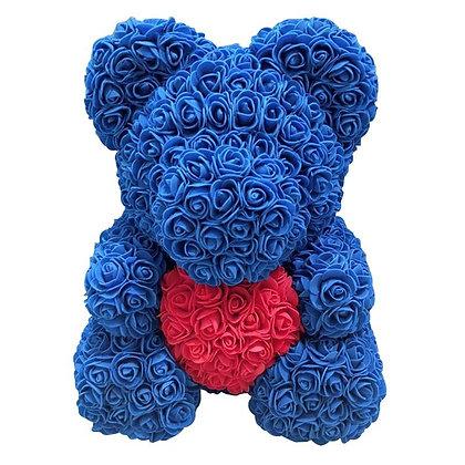 Flower Foam Bear - Dark Blue with Red Heart
