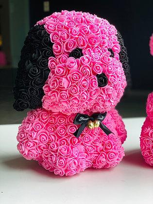 Floral Cute Dog 40cm - Pink/Black