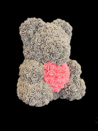Flower Foam Bear - Grey with Pink Heart