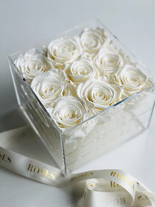 Personalised Acrylic Box - 9 Preserved White roses