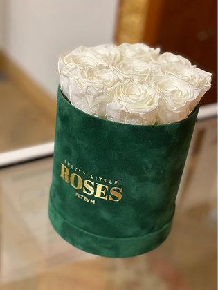 Medium High Round Velvet Box - Emerald Green - Choose color roses
