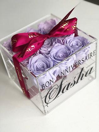 BON ANNIVERSAIRE + nom - boite a 9 fleurs préservées