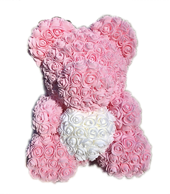 Flower Foam Bear - Light Pink with White Heart
