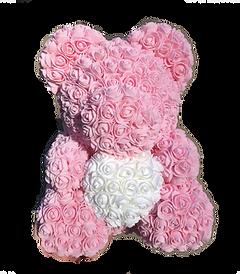 Ours Fleurs en mousse - Rose Clair avec Coeur Blanc