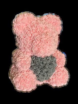 Flower Foam Bear - Light Pink with Grey Heart
