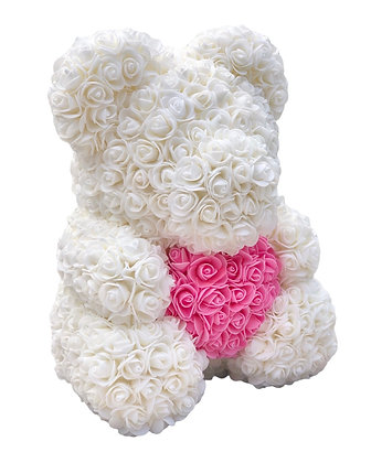 Floral Foam Bear- White with Pink heart